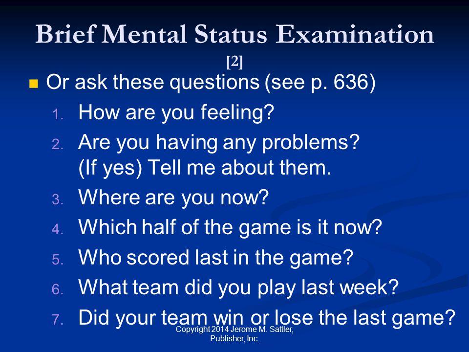 Brief Mental Status Examination [2]